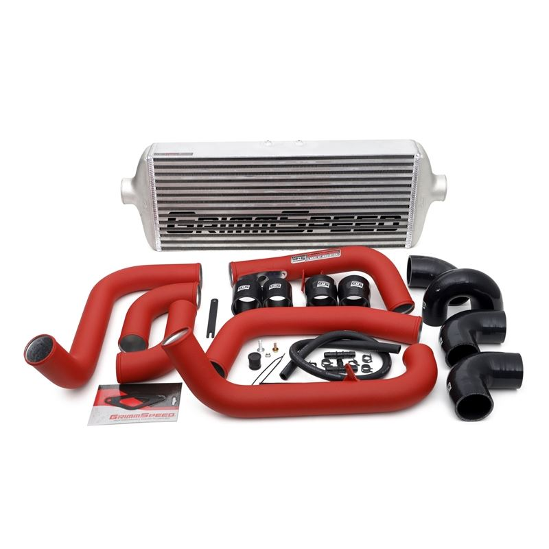 Front Mount Intercooler Kit (Inc. Red Piping) for