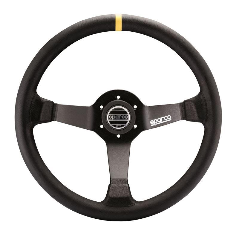 Sparco R345 Racing Steering Wheel, Black Leather (